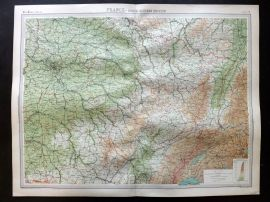 Bartholomew 1922 Large Map. France, North Eastern Section